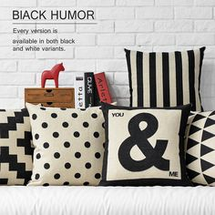 Modern Decorative Pillows Covers Black and white cushions cover Home Decor Geometric throw pillows Plaid Cushion Cover White Throw Pillows, Cute Pillows, Diy Pillows, Linen Pillows, Cushions On Sofa, Couch Sofa, Cotton Pillow, Geometric Cushions, Geometric Pillow