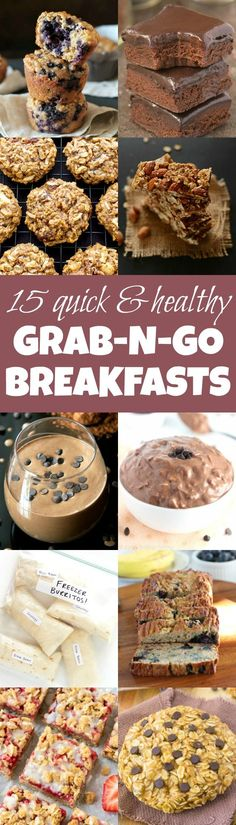 No time for breakfast? No problem! You won't have to miss out on the BEST meal of the day with these quick and healthy breakfast recipes that you can literally grab on your way out the door! | runningwithspoons...