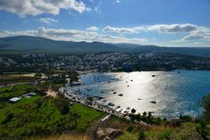 birds eye view of ildiri bay from  the ancient ruins on the top of the hill