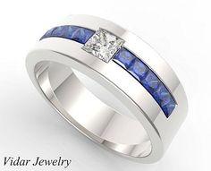 Mens Wedding Band,Unique Wedding Bands,Blue Sapphire wedding band,Diamond…  Мужские 7e459b7f6c7