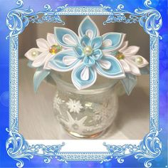 Fabric flower kanzashi headband, white&blue