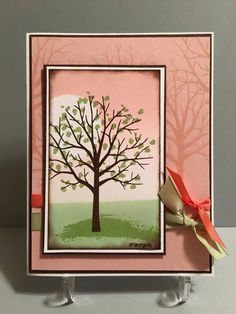 Stampin' Up! ... hand crafted card ... Sheltering Tree ... sponged background ... base layer with tone on tone samped image ... beautiful dusty pink (cantaloupe) ...