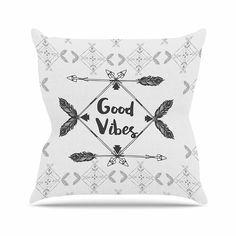 KESS InHouse FM1046AOP03 18 x 18-Inch 'Famenxt Boho Good Vibes Black Grey' Outdoor Throw Cushion - Multi-Colour