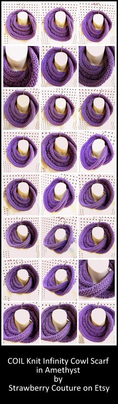 COIL Knit Infinity Scarf in Amethyst by Strawberry Couture on Etsy $35.00 #knitscarf #infinityscarf #knitinfinityscarf #coilscarf #etsy #etsyscarf #handmade #strawberrycouture #etsyhandmade #etsyshop #etsygifts #shopping #gifts