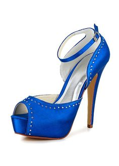 Buy discount Fashionable Satin Upper Peep Toe Stiletto Heels Bridal Shoes With Rhinestones at Dressilyme.com