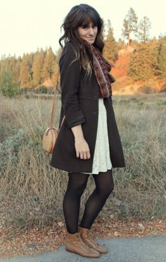 The Moptop Free people white dress, patterned multicolored scarf, long coat, black tights and brown boots