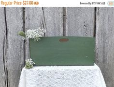 Vintage Wood Tool Carrier Storage Box Green by @MomsantiquesNthings