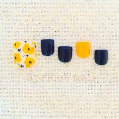 ネイル 画像 apricot nail 宇都宮 896781 黄色 フラワー 春 ソフトジェル フット