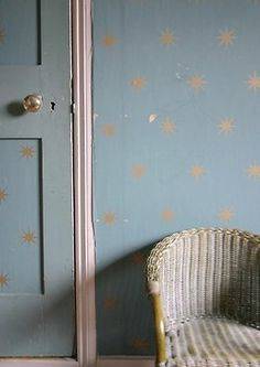 nursery decor detail- these stars on curtains for boy room