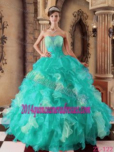 New Aqua Blue Ruched and Ruffled Quinceanera Gown with Appliques in Organza