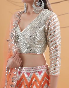 Then you've got to check out Abhinav Mishra's Mirror Work Lehengas from his 2019 spring summer collection. Mirror Work Dress, Mirror Work Lehenga, Mirror Work Blouse Design, Mirror Work Kurti, Kurti Designs Party Wear, Lehenga Designs, Saree Blouse Designs, Blouse Patterns, Kurti Patterns