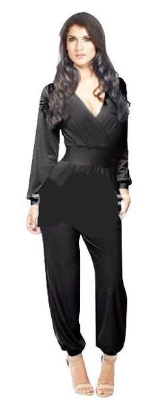 22f66449 2016 Autumn Brand New Women Plus Size Jumpsuits Black White Blue Red Sexy  V-neck…