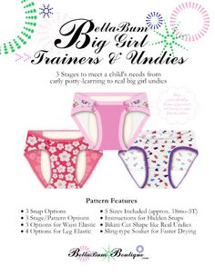 BellaBum Big Girl Trainers are the cloth trainers that look like REAL big girl's underwear! With the Big Girls Trainer PDF pattern you can sew an endless Training Pants Pattern, Cloth Training Pants, Home Sew, Cloth Pads, Stay In Shape, Pdf Sewing Patterns, Baby Sewing, On Set, Sewing Hacks