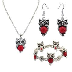 Turquoise Jewelry Sets, bracelet & earring & necklace, Zinc Alloy, with 5cm extender chain, Owl, antique silver color plated, lead & cadmium free, 36x10mm, Length:Approx 21.26 Inch,china wholesale jewelry beads