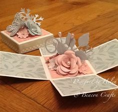 With hand made paper flowers. Pop Up Box Cards, 3d Cards, Easel Cards, Memories Box, Exploding Gift Box, Organizer Box, Magic Box, Scrapbooking, How To Make Box