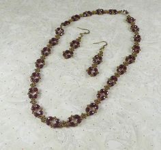 Woven Bead Necklace and Earrings Bronze and Red