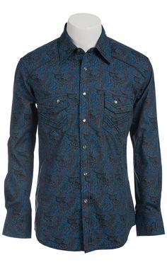Browse Cavender's online selection of men's fashion shirts. Nice Shirts, Work Shirts, Western Shirts, Western Wear, Camisa Rock, Cowboy Outfits, Cowboy Up, Rock Roll, Denim Shirt