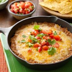 {Easy Cheesy Bean Dip} This dip will surely be a game day 'go-to' for friends and family; with only three ingredients, it also could not get any easier! Appetizer Dips, Appetizer Recipes, Snack Recipes, Cooking Recipes, Dinner Recipes, Party Recipes, Cheese Recipes, Holiday Recipes, Breakfast Recipes