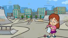 A Girl Knitting Her Own Scarf At An Urban Skate Park:  A girl with brown hair wearing a pink sweatshirt purple skirt white socks and teal shoes smiles while knitting a striped scarf from the ball of pink wool on the ground using two gray knitting needles in her hands. Set in a skate park just outside the business district of the city with gray slides and ramps lined out by trees and multicolored buildings in the background.