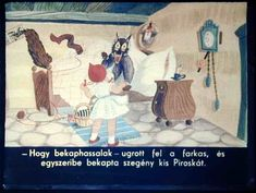 Piroska és a farkas 1963 Painting, Painting Art, Paintings, Painted Canvas, Drawings
