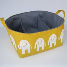 Diaper Caddy - Storage Container Organizer Bin Basket  -  Separators - Dividers - 3 Compartments  - Corn Yellow and White Slub Ele Elephant by etsy.com