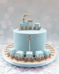 Birthday Cake Boys Train Baby Shower Ideas For 2019 Baby Birthday Cakes, Baby Boy Cakes, Cakes For Boys, Gateau Baby Shower, Baby Shower Cakes, Christening Cake Boy, Fake Cake, Fondant Cakes, Themed Cakes