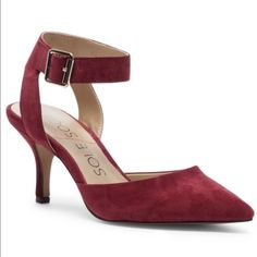 Sole Society Crimson Suede Ankle Wrap Heels Sole Society Crimson Suede Ankle Wrap Heels. Size 8. Heel 2.5 inches. Comfy, fun and beautiful. Gently worn, heel slightly worn on right. Sole Society Shoes Heels