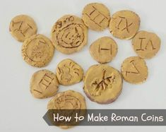 How to make Roman coins from clay - an easy craft project for primary children Coin Crafts, Vbs Crafts, Arts And Crafts Projects, Easy Craft Projects, Project Ideas, Ancient Roman Coins, Ancient Rome, Ancient History, Romans Ks2