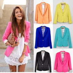 New Collection Stylish Womens One Button Tunic Foldable Sleeve Blazer Jacket-BZ | eBay