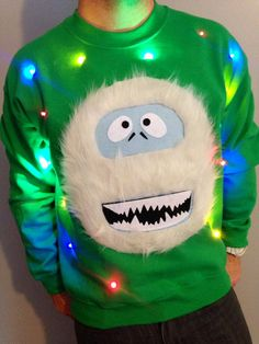 Ugly Christmas Sweater LIGHTS UP! Sweatshirt Abominable Snowman Light Up Christmas Sweater Christmas Jumper -Fast Shipping - Inappropriate Shirt - Ideas of Inappropriate Shirt - Light Up Christmas Sweater, Ugly Christmas Sweater Women, Christmas Jumpers, Christmas Shirts, Xmas Sweaters, Christmas Ideas, Christmas Crafts, Merry Christmas, Kids Ugly Sweater