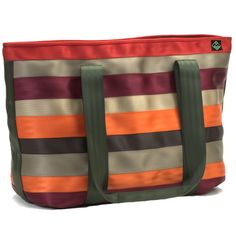 Eco Friendly Fall Tote. Fun and saves our landfills from tons of seat belt fabric. Daisy Giggles.