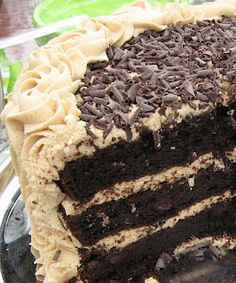 Chocolate cake with peanut butter frosting -- heaven :)