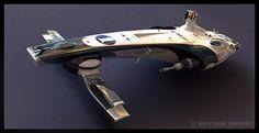 Combining retro car design shapes and colour scheme with futurism to create a futuristic car/vehicle concept.  Cosmic Motors by Daniel Simon (Psychospace, 2013)
