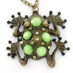 CUTE Retro Goldtone GREEN Frog Pendant by JuliesJewelryStore