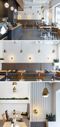 In this modern coffee shop, gold has been carried through the space with simple gold pendant lights that hang above the tables. A corrugated white wall and upholstered grey banquettes add texture to the space, while the wood tables and chairs tie in with the wood countertops.