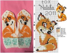 """In the Shutterstock collection """"Foxes Jacquard knit . Knitting Machine Patterns, Knitting Charts, Loom Knitting, Knitting Stitches, Knitting Designs, Knitting Projects, Knitted Mittens Pattern, Knit Mittens, Knitted Gloves"""