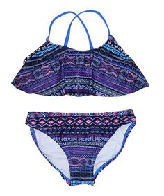 Purple & Navy Geometric Flowy Bikini Top & Bottoms - Girls #zulily #zulilyfinds