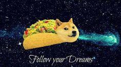 Follow your dreams taco doge wallpaper XD