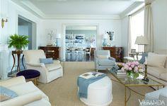 Luminous blues brighten this apartment.
