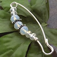Moonstone and Swarovski crystals and silver tone wire