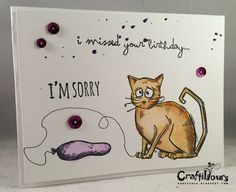 Karen N here! My Tim Holtz Crazy Cats Stamps came in the mail from Cut@Home, and I could not wait to play with them! So much cuteness and fun. I decided to do some cards paring the Crazy Cats with Tim Holtz Crazy Talk and Tim Holtz Crazy Things. There's a whole lotta crazy happening [&hellip