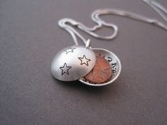 Pennies from Heaven Necklace - Personalized Locket - Locket Necklace - Memorial Locket - Penny Necklace - Meaningful Jewelry - Hand Stamped on Etsy, $62.00