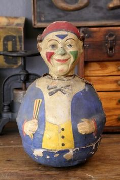 Antique Paper Mache Toy Jester Clown Roly Poly Musical Doll Vintage old toy Halloween Night, Spirit Halloween, Halloween Masks, Baby Halloween, Halloween Themes, Vintage Bizarre, Creepy Vintage, Jack In The Box, Antique Toys