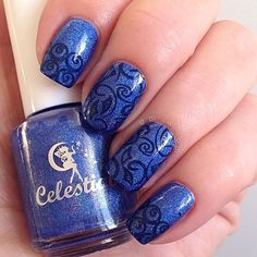 """""""@celestialcosmetics You Win or You Die is the most stunning blue holo  Stamped using @mundodeunas Black and @bundlemonster BM XL-115 #celestialcosmetics #bundlemonster #mundodeunas"""" Photo taken by @m_a_tom on Instagram, pinned via the InstaPin iOS App! http://www.instapinapp.com (07/19/2015)"""