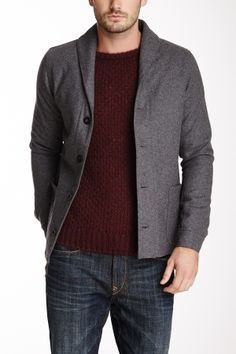 """Shawl Collar Wool Blend Engineer Jacket in charcoal by Earnest Sewn $414 - $139 @HauteLook. Shawl collar. Long sleeves with single barrel cuffs. Front button closure. 2 front patch pockets. Interior lining. 28'' length. Made in Italy. 70% wool, 30% nylon. Machine wash. Fit: this style fits true to size. Model's stats: - Height: 6'2"""" - Suit: 40L"""" - Waist: 31"""".  Model is wearing size 2-M."""