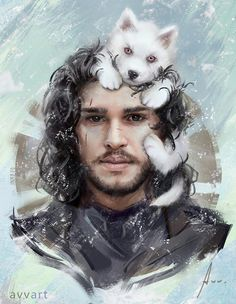 John Snow and a wolf. Game of Thrones.
