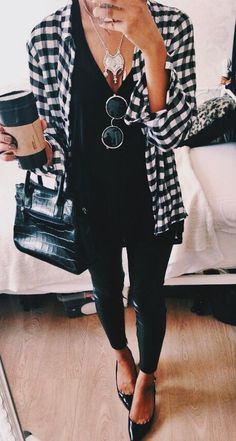 #fall #fashion / all black + plaid shirt