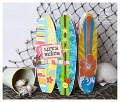 Time to ride the waves with this gatefold style card from SURF SHACK SVG KIT!  Thienly uses bright colors and fun prints making a splash in the waves!  You have to check out this kit!  It has a fabulous German Bus!  Awesome!