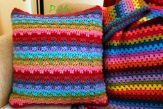 Crochet colorful cushion, inspired by #Attic24