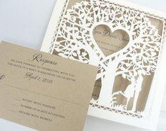Bajar invitación invitación de boda árbol cortado láser